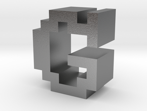 """""""G"""" inch size NES style pixel art font block in Natural Silver"""