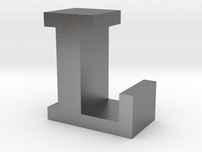 """""""L"""" inch size NES style pixel art font block in Natural Silver"""