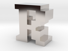 """""""R"""" inch size NES style pixel art font block in Rhodium Plated Brass"""