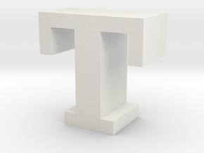 """T"" inch size NES style pixel art font block in White Natural Versatile Plastic"