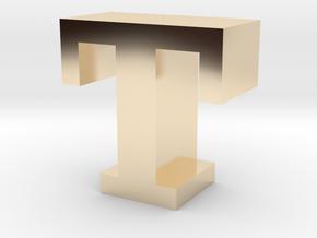 """T"" inch size NES style pixel art font block in 14K Yellow Gold"