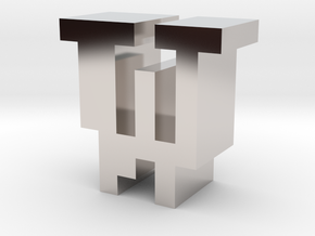 """""""W"""" inch size NES style pixel art font block in Rhodium Plated Brass"""