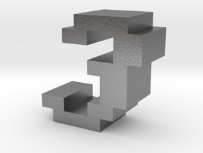 """""""3"""" inch size NES style pixel art font block in Natural Silver"""