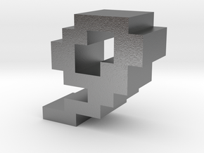 """""""9"""" inch size NES style pixel art font block in Natural Silver"""