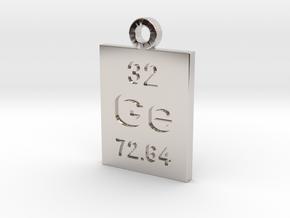 Ge Periodic Pendant in Rhodium Plated Brass