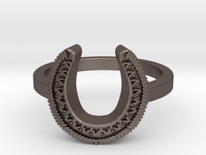 Horseshoe Ring in Polished Bronzed-Silver Steel