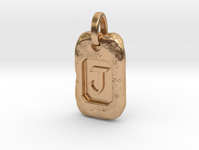 Old Gold Nugget Pendant J in Polished Bronze