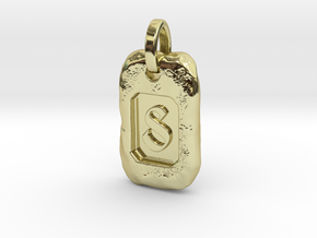 Old Gold Nugget Pendant S in 18k Gold Plated Brass