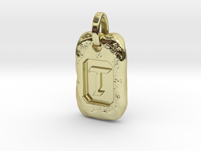 Old Gold Nugget Pendant T in 18k Gold Plated Brass