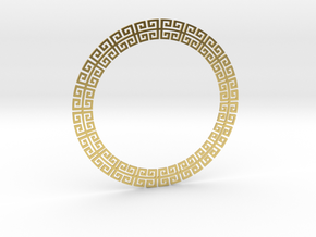 Circular Meander Pendant in Polished Brass