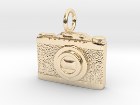 3D Vintage style camera in 14k Gold Plated Brass