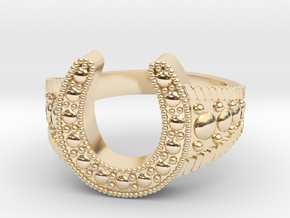 Blingy Horseshoe Ring  in 14k Gold Plated Brass