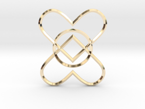 2 Hearts 1 Ring Pendant in 14k Gold Plated Brass