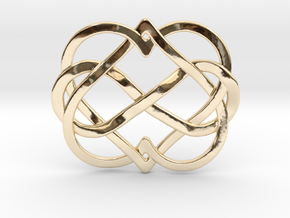 2 Hearts Inifinity Pendant in 14k Gold Plated Brass