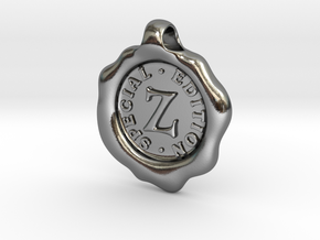 Seal Pendant Z in Polished Silver