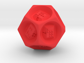 D12 Dice - Braille in Red Processed Versatile Plastic