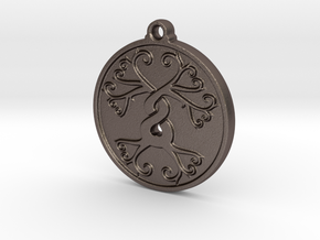 Tree Pendant in Polished Bronzed-Silver Steel