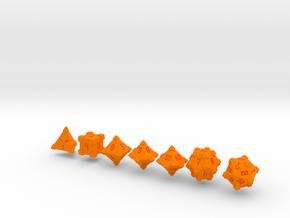 Polyhedral Dice Crenelated in Orange Processed Versatile Plastic