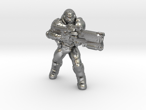 doomguy doom slayer 34mm heroic scale miniature in Natural Silver