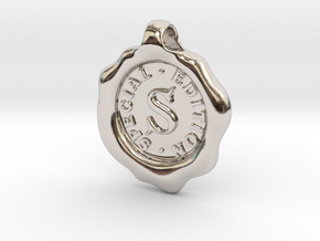 Seal Pendant S in Rhodium Plated Brass