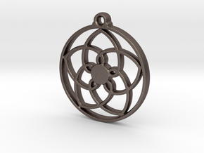 Lotus Pendant VII in Polished Bronzed-Silver Steel