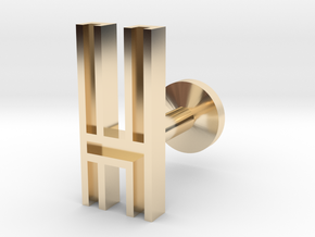 Letter H in 14k Gold Plated Brass