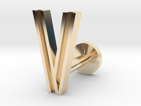 Letter V in 14k Gold Plated Brass