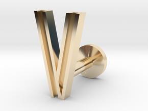 Letter V in 14k Gold Plated Brass