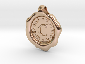 Seal Pendant C in 14k Rose Gold Plated Brass