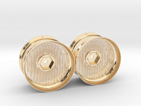 Hexagonal Grid Rim 1:10 Scale X2 in 14k Gold Plated Brass