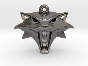 Witcher Cat School Pendant in Polished Nickel Steel