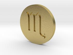 Scorpio Coin in Natural Brass