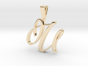 INITIAL PENDANT U in 14k Gold Plated Brass