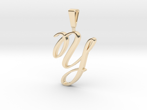 INITIAL PENDANT Y in 14k Gold Plated Brass