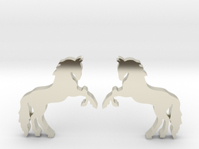 Horse Stud Earrings in 14k White Gold