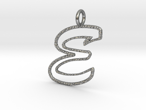 Open kaps crust letter E in Natural Silver