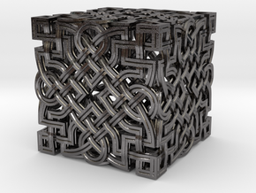Infinity Knot - Six Face Cube in Polished Nickel Steel