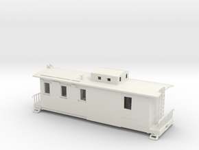 HO Scale Caboose with Interior in White Natural Versatile Plastic