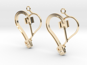 Crosshead Heart Earrings  in 14K Yellow Gold