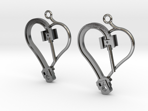 Crosshead Heart Earrings  in Polished Silver