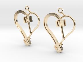 Crosshead Heart Earrings  in 14k Gold Plated Brass