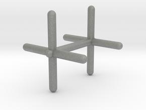 Cross Cufflink in Gray PA12