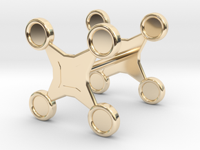 Fidget Spinner Cufflink in 14k Gold Plated Brass