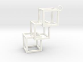Cube Earring in White Processed Versatile Plastic