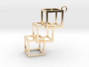 Cube Earring in 14K Yellow Gold
