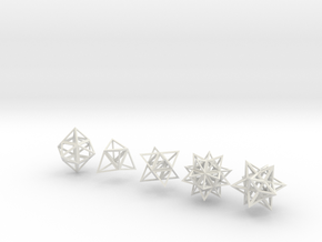 Stellated Platonic Solids DaVinci Style (set of 5) in White Natural Versatile Plastic