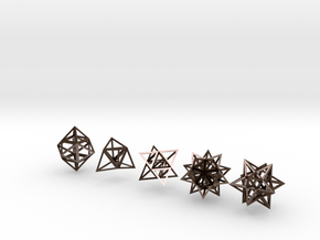 Stellated Platonic Solids DaVinci Style (set of 5) in Polished Bronze Steel