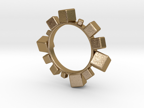Cube Bracelet in Polished Gold Steel