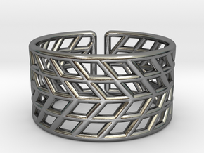 Mesh Grid Ring V2: Size 6-7 in Polished Silver