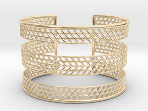 Mesh Grid Cuff V2 in 14k Gold Plated Brass